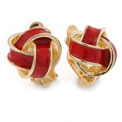 85de1e559 Red Enamel Knot Clip On Earrings In Gold Plating - 17mm L: Amazon.co.uk:  Jewellery
