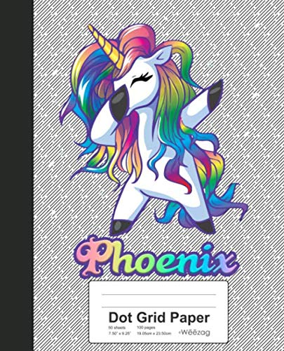(Dot Grid Paper: PHOENIX Unicorn Rainbow Notebook (Weezag Dot Grid Paper)