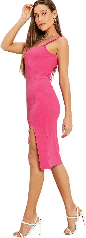 DIDK Damen Kleid Tr/ägerkleid Bodycon Schulterfrei Partykleid Einfarbig Freizeitkleid mit Schlitz