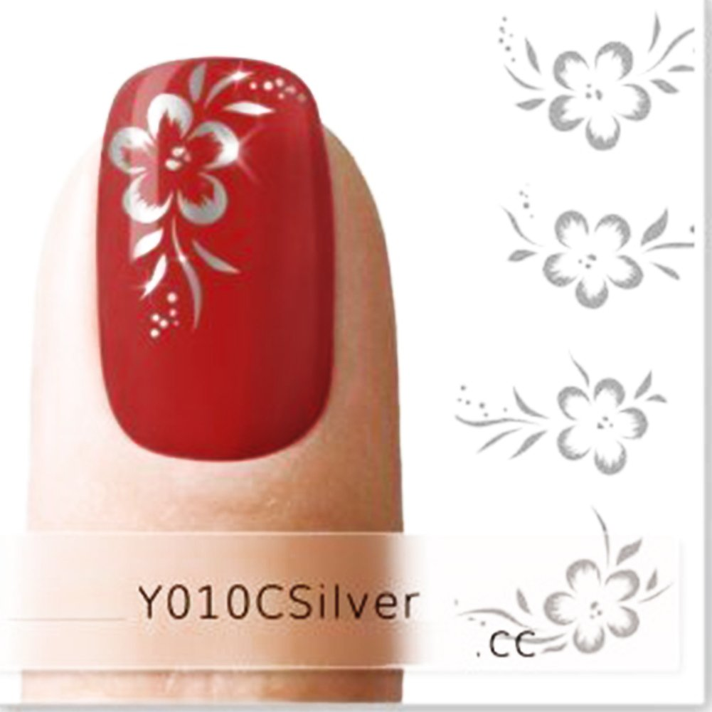 Nicedeco Beautiful & Fun & Colorful & Fashion Nail Stickers/Tattoo/Decal Water Transfer Stickers Silver Hibiscus Flower & Leaves