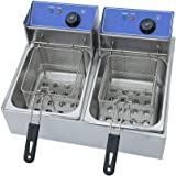 Blackpoolal 2x6L Deep Fat Fryer 2500W Electric Commercial Fryer Stainless Steel Cold Zones Deep Fryer with Detachable Lid Temperature Control Fryer