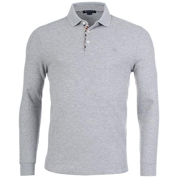 e1451438e Aquascutum Men`s Hillington Long Sleeves Polo Shirt - Grey  Amazon ...