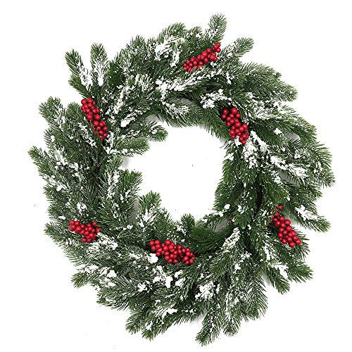 A Touch of Snow Frosted White Evergreens and Red Berries Artificial Winter Wreath for Christmas Will Fit Between Front Storm Door 22 Inch 3.5 Inches Deep