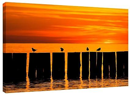 Lienzo Sunset Pier - Bastidor Y montado alrededor de un 18 x 12 ...