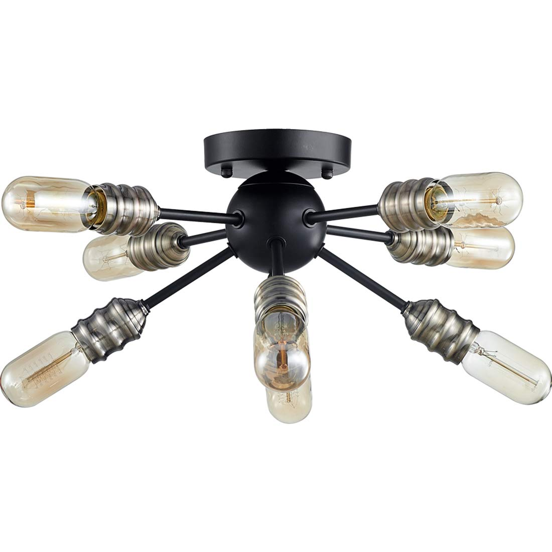 TZOE 8-Light Sputnik Chandelier Mid Century Modern Ceiling Light Bronze and Black Rustic Living Room Lighting Bedroom Light Dining Room Lights UL Listed