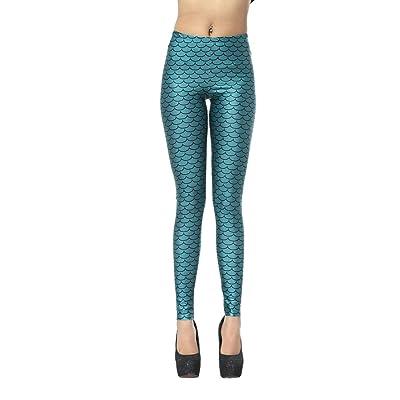 AHATECH Femme Legging Sport Fitness Pantalon Élastique Collant Imprimé Multicolore