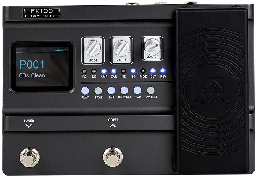 FLAMMA FX100 Guitar Pedal Multi-effects Pedal Guitar Processor with 151 Effects 80-Second Looper 200 Presets 55 Amp Models 40 Drum Machine 10 Metronome