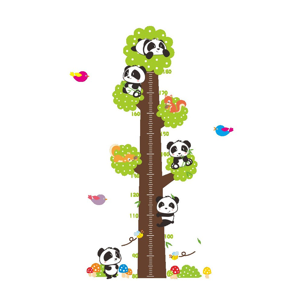 Winhappyhome Pandas Children's Height Measurement Chart Tree Wall Art Stickers for Kids Room Living Room Nursery Background Removable Decor Decals