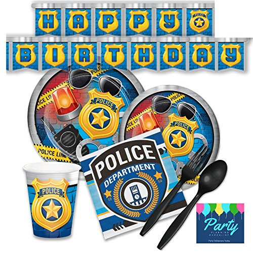 Price comparison product image Police Party Supplies - Tableware for 16 Guests + Decorations - Plates, Napkins, Plasticware, Cups, Banner
