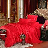 Set of 4 Cotton Satin Jacquard Duvet Cover Bedding Set Queen/King For Adult Children Kids Teen Dorm Quilt Cover(220Cm×240Cm×1),Sheet(260Cm×245Cm×1),Pillowcases(48×74Cm×2) Wedding Thanksgiving Christmas Birthday Party Gift