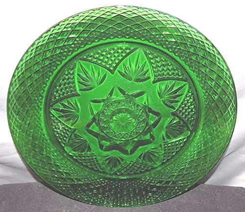 Green Depression Glass Plate (Vintage Forest Green Glass 10