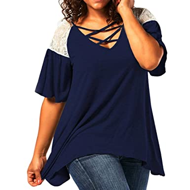 f2657586b51ee Vovomay Women Blouse Plus Size O-Neck Cold Shoulder Lace Splicing Print  Hollow Out T-Shirt Tops at Amazon Women s Clothing store