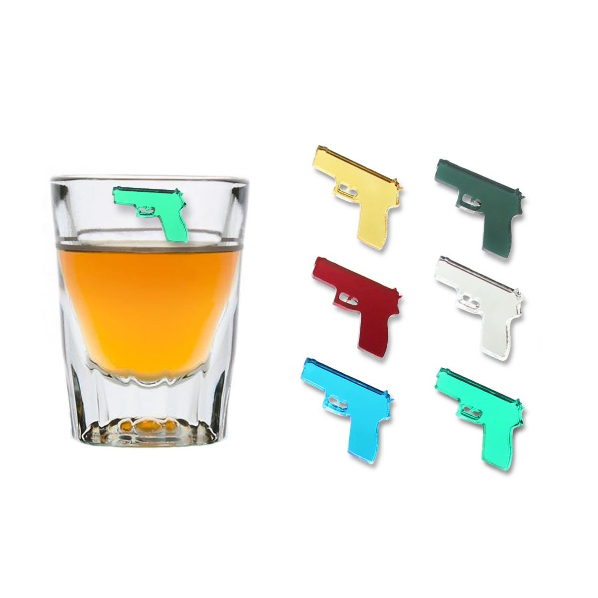 HANDGUNS Magnetic Wine Glass Charms (Set of 6) by Claim Your Glass - Premium Drink Markers for Wine, Champagne, Beer, Cocktail Glasses - Includes Storage Case + Spare Magnet by Claim Your Glass (Image #4)