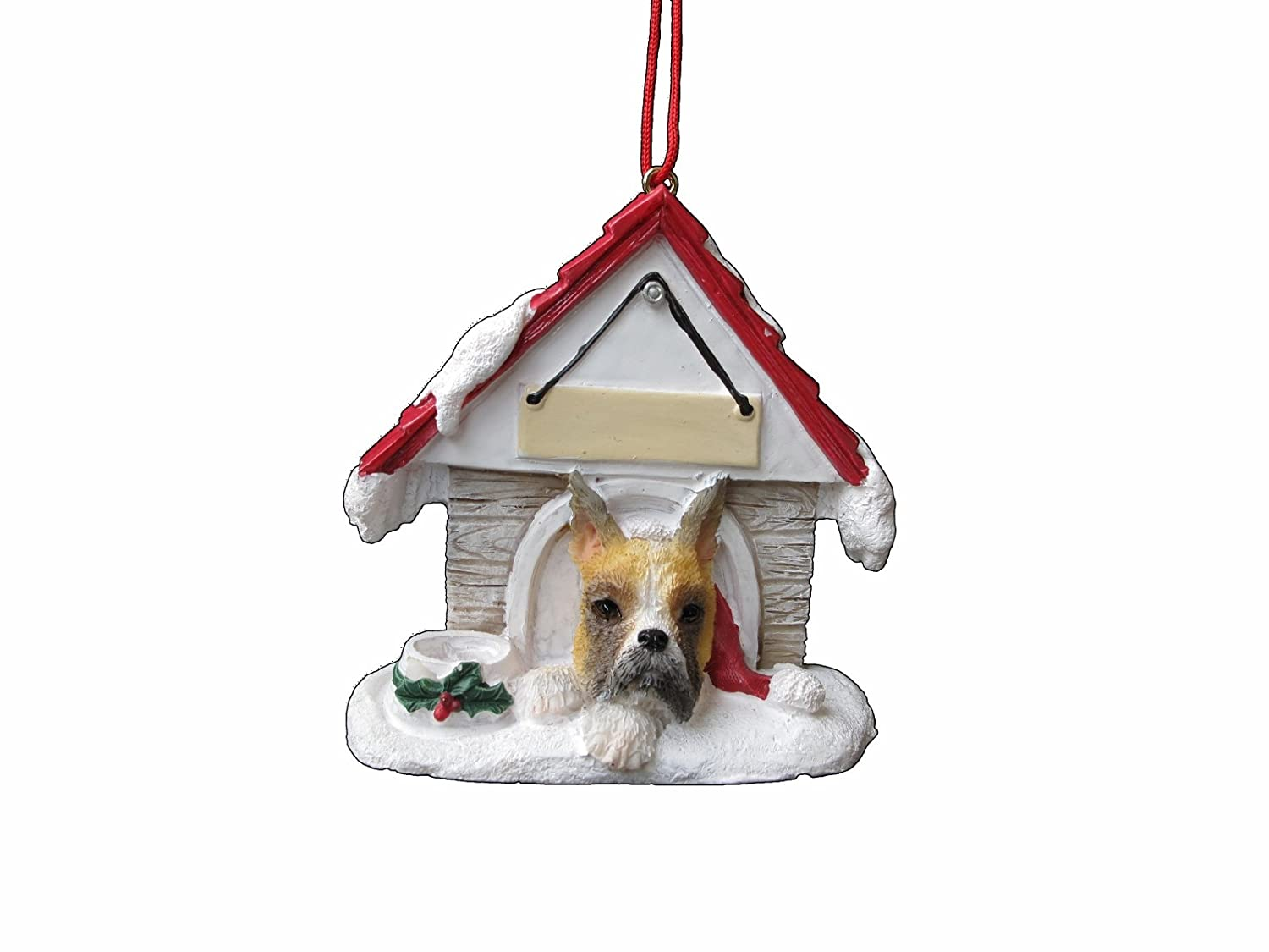 Boxer Ornament Cropped A Great Gift For Boxer Owners Hand Painted and Easily Personalized Doghouse Ornament With Magnetic Back