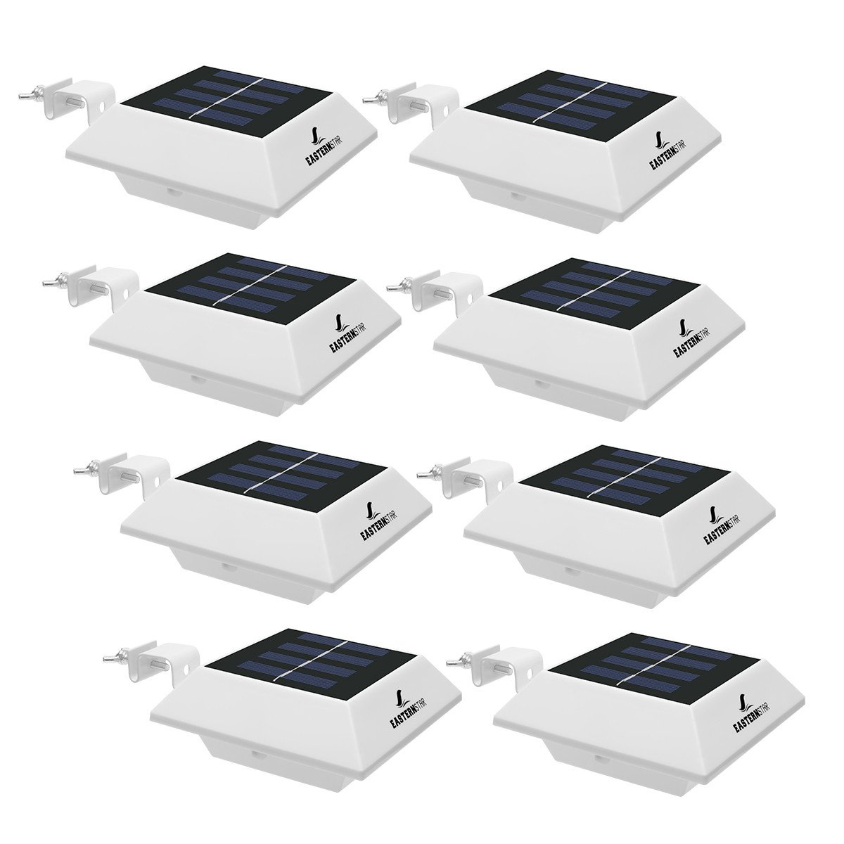 Easternstar Solar Powered Gutter Lights Outdoor,4 LED Waterproof Fence Driveway Garden Patio Roof Path Decking Night Utility Security Light White Light (8 PACK)