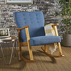 Christopher Knight Home 302189 Hank Mid Century Modern Fabric Rocking Chair, Muted Blue, Light Walnut