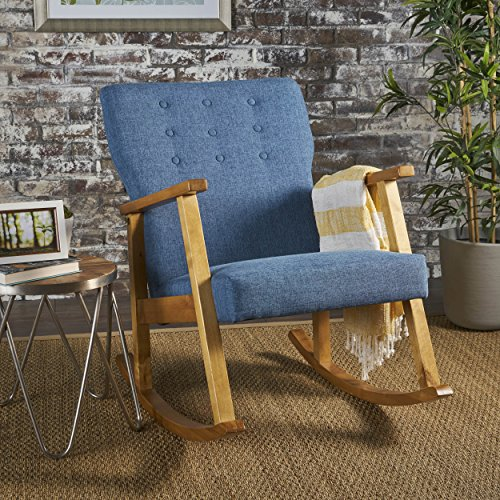Hank Mid Century Modern Muted Blue Fabric Rocking Chair