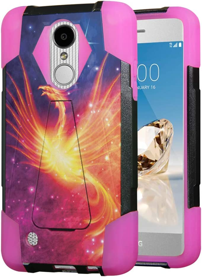 Moriko for LG Aristo 2 3 Plus, Tribute Empire Dynasty, Rebel 3 4 LTE, Fortune 2, Phoenix 3 4, Risio 2 3, Zone 4, K8, K8S, K8 Plus Kickstand Black Pink Cover Case (Fire Phoenix)