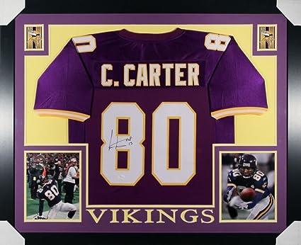 pretty nice 998c6 853ac Cris Carter Signed Vikings 35x43 Custom Framed Jersey (JSA ...