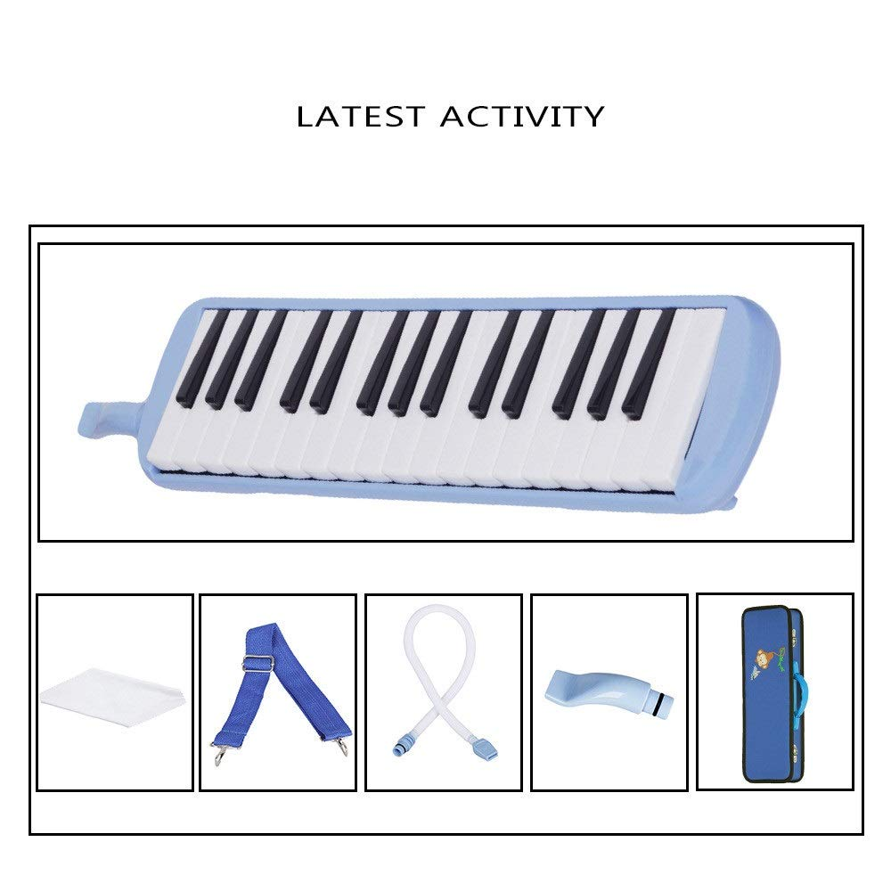 Melodica Musical Instrument Cartoon Kids Piano Keyboard Style Melodica Durable ABS 32 Keys With Portable Carrying Case Kids Musical Instrument Gift Toys For Music Lovers Beginners 2 Mouthpieces Tube S by Shirleyle-MU (Image #5)