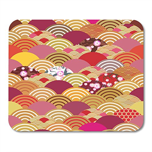 Red Sea Flora Base - Nakamela Mouse Pads Scales Simple Nature with Japanese Sakura Flower Rosy Pink Cherry Wave Circle Orange Red Burgundy Mouse mats 9.5