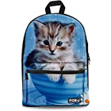 FOR U DESIGNS Cute Cat Dog Print Durable Kids Back to School Backpack Canvas Book Bag