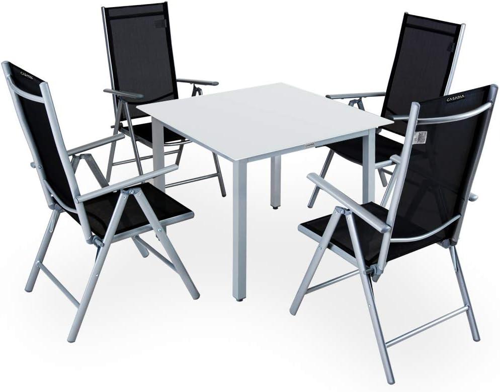 Casaria Conjunto de 1 Mesa y 4 sillas de Aluminio Bern Respaldo reclinable Plateado Muebles de jardín terraza