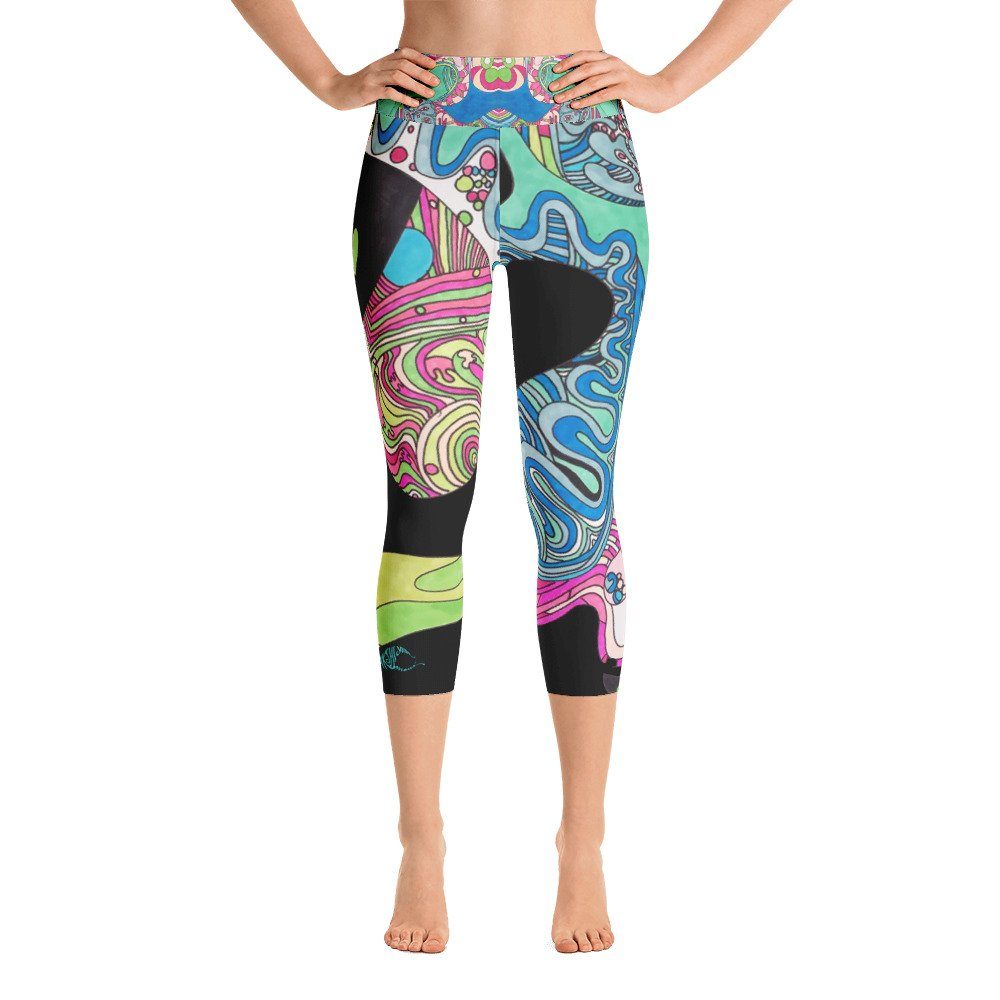 Bakshi Yudis Maui Yoga Capri Leggings in Sweet Lane Black