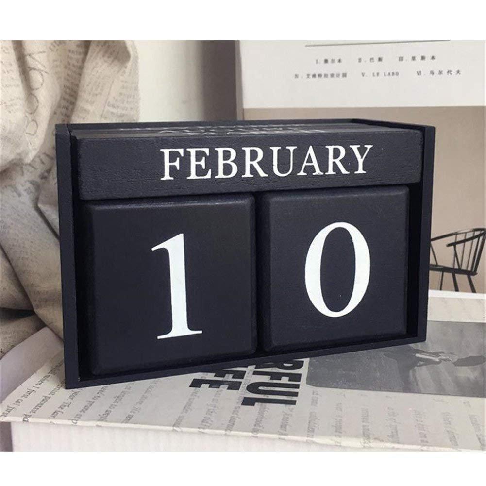 Bianco cremoso Obling Calendario Perpetuo di Legno Conversione Manuale Accessorio Chic Durevole per Casa o Ufficio