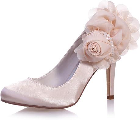 MarHermoso DOrsay Zapatos de tac/ón de Bloque con Correa al Tobillo y Puntera Puntiaguda para Novia