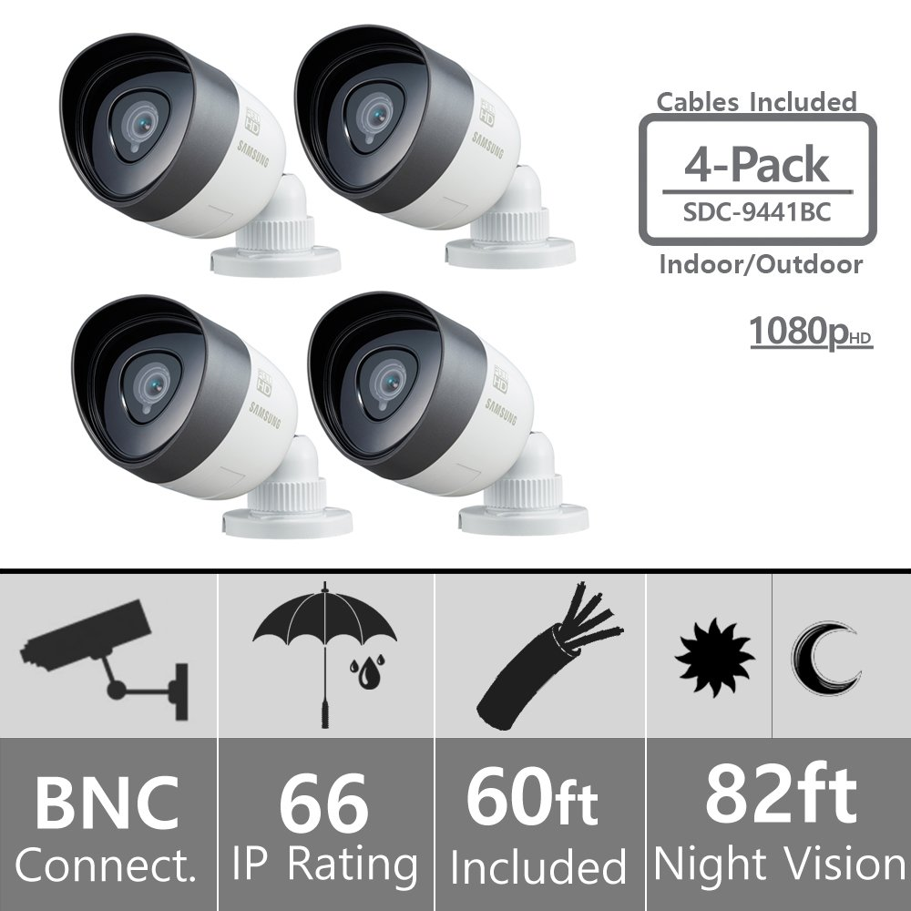 (Set of 4) SDC-9441BC Samsung 1080P Bullet Cameras with 60ft Cables Supported on SDH-C75100, SDH-C75080, and SDH-C74040