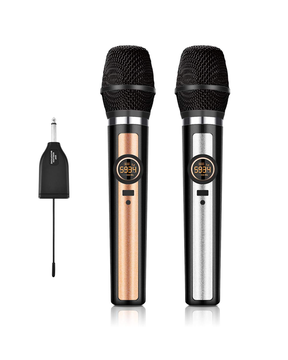 Wireless Microphone System, UHF Dual Handheld Dynamic Wireless Mic Set with Rechargeable Receiver, 1/4'' (6.35mm) Plug, 100ft, for mic Karaoke/Singing/House Parties by Songsing