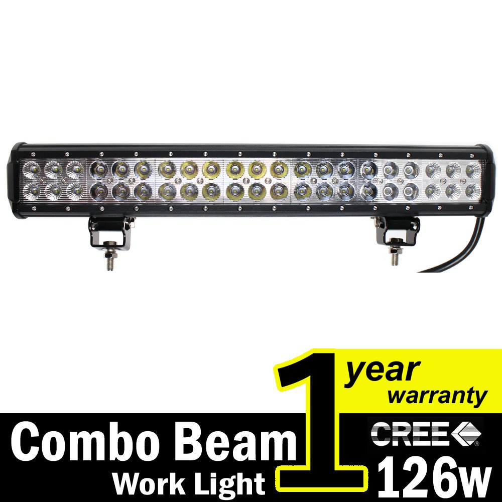 Best led light bars for trucks and suvs in 2018 buyers guide tmh 20 dual row high power 126w cree xb d smd led work light bar aloadofball Choice Image