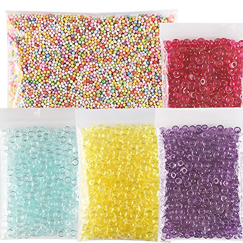 Teenitor Crunchy Slime Beads, Beads in Slime, 4 Pack Fishbowl Beads Cheap Slime Beads Filler Beads For Slime & 1 Pack Colorful Foam Beads Floam Beads for Slime for Crunchy Slime Making (Beading 0.125' Edge)