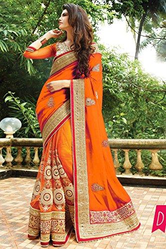 Indian Trends Indian Women Designer Party wear Orange Saree Sari NF-6060D