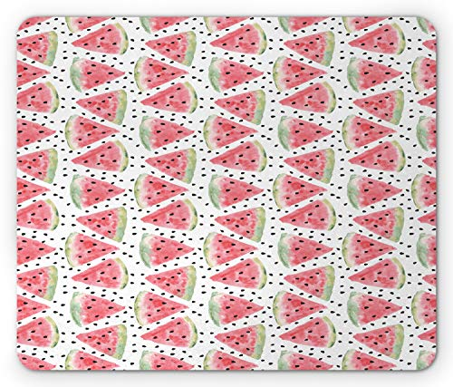 Ambesonne Watermelon Mouse Pad, Watercolor Illustration of Triangle Slices and Scattered Fruit Seeds, Standard Size Rectangle Non-Slip Rubber Mousepad, Coral Pale Green Black