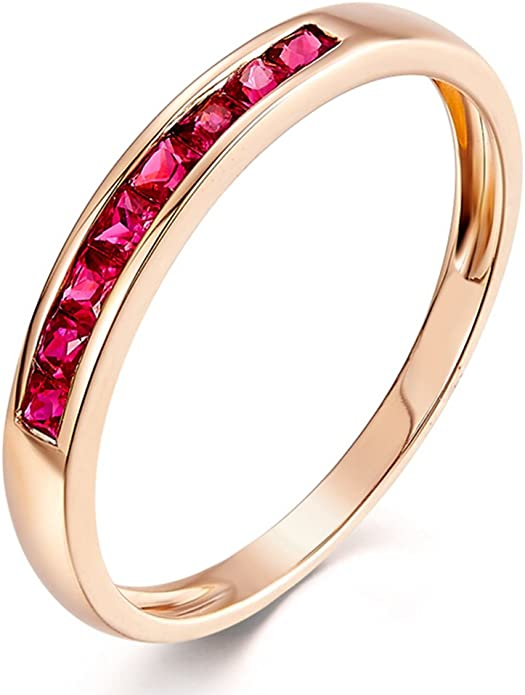 Details about  /Ruby Gf Gemstone Party Jewelry 14k Rose Gold Ring