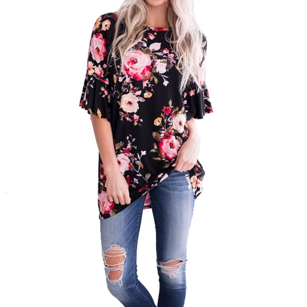 Women T Shirts Short Sleeve Floral Tees O Neck Criss Cross Summer Tops [ Black XL ]