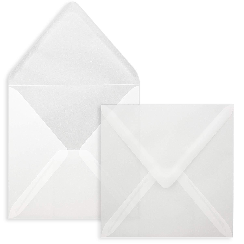 15 x 15 cm per biglietti di matrimonio colore: bianco trasparente 75 Umschl/äge 48-Transparent Wei/ß FarbenFroh/® inviti e altro Busta quadrata