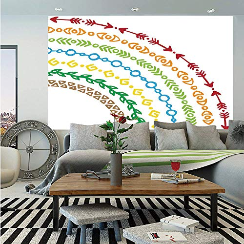 (SoSung Arrow Decor Wall Mural,Colorful Rainbow Ethnic Native Tribal Arrow and Leaf Patterns in Retro Boho Folk Art,Self-Adhesive Large Wallpaper for Home Decor 55x78 inches,Multi )