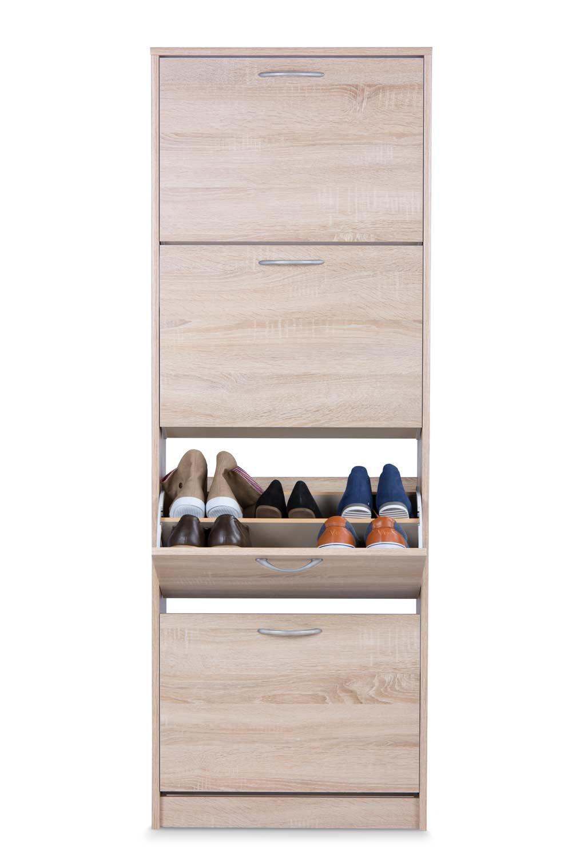 Lifestyle4living Schuhkipper in Sonoma Eiche Nachbildung, 4 Kippladen, Doppel-Walze und Griffen in Alu-Optik, Maße  B H T ca. 58 162 25,4 cm