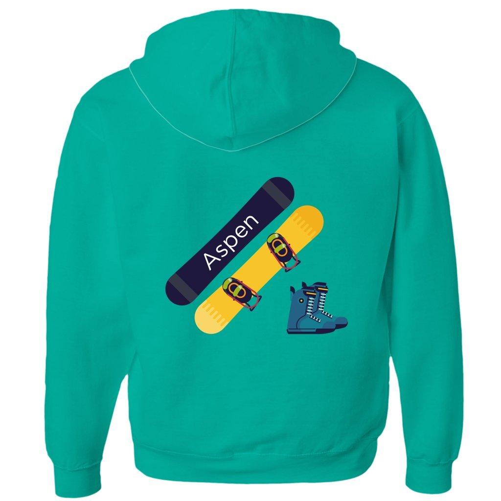 Tenn Street Goods Aspen, Colorado Snowboard and Boots - Unisex Fleece Full-Zip Hoodie (Kelly Green, X-Large)