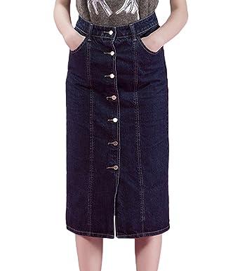 Dooxi Mujer Otoño Casual Cintura Alta para Mezclilla Falda ...