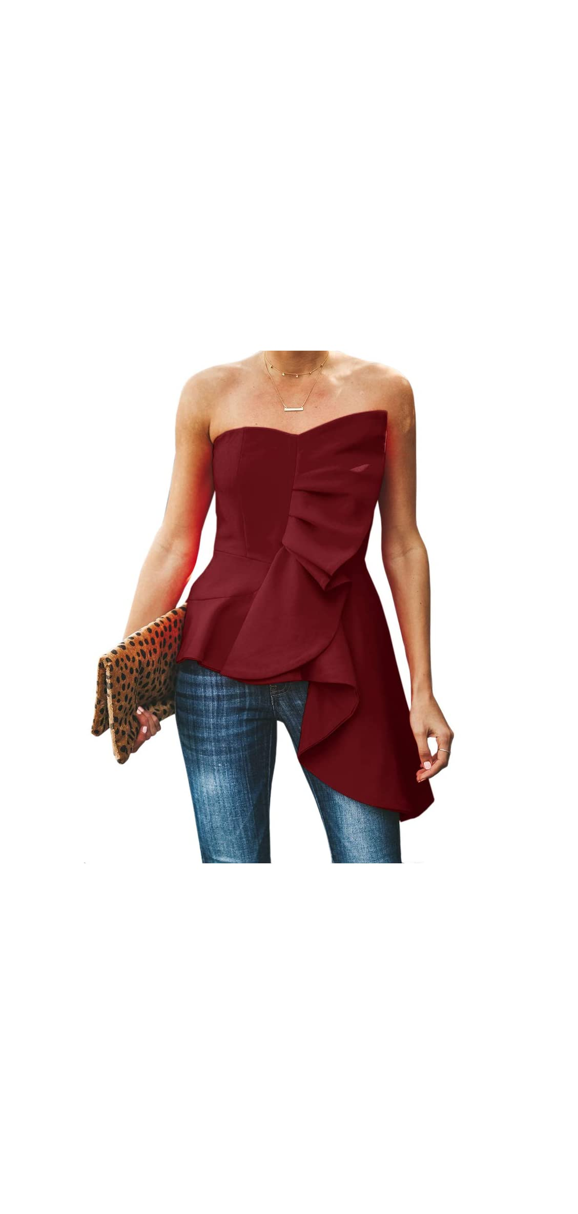 Womens Ruffle Party Blouse Strapless Asymmetrical Top