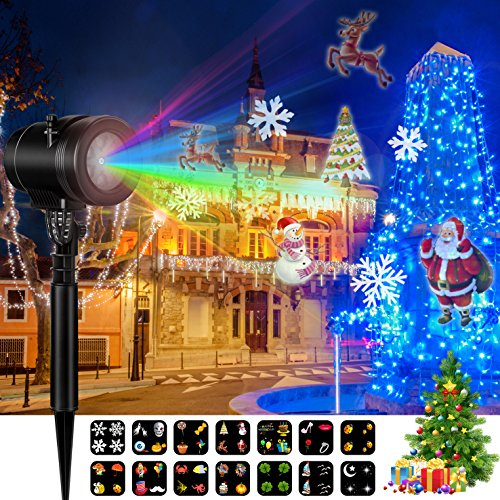 Christmas Led Projector Lights, Goutoday Newest Style 14 Slides Bright Waterproof Landscape Led Projector Spotlight Show for Thanksgiving Day, Holiday, Garden, Children Birthday Celebration Decoration