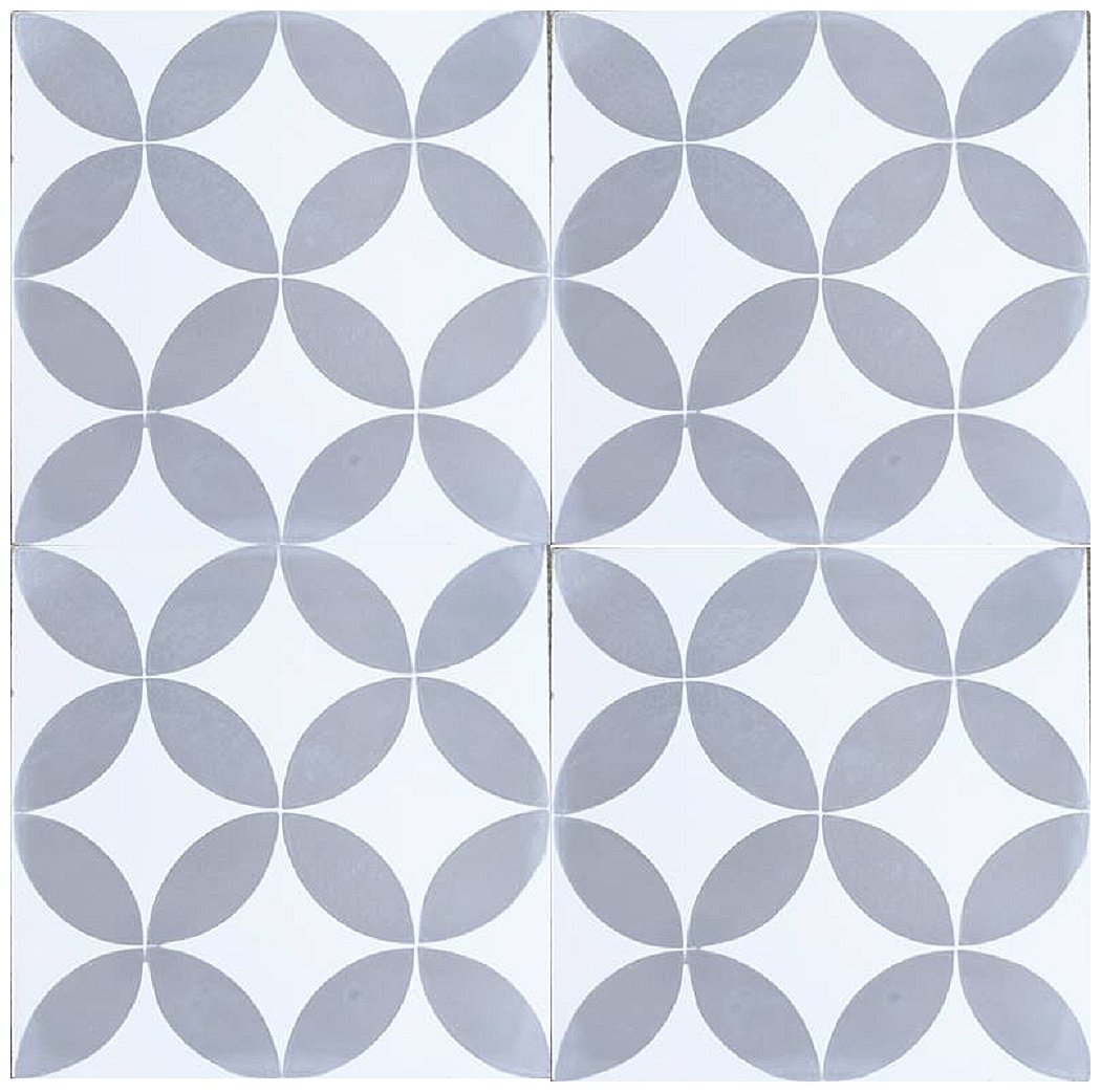 Rustico Tile and Stone RTS6 Circulos GW Cement Pack of 13, 8'' x 8, Gray/White