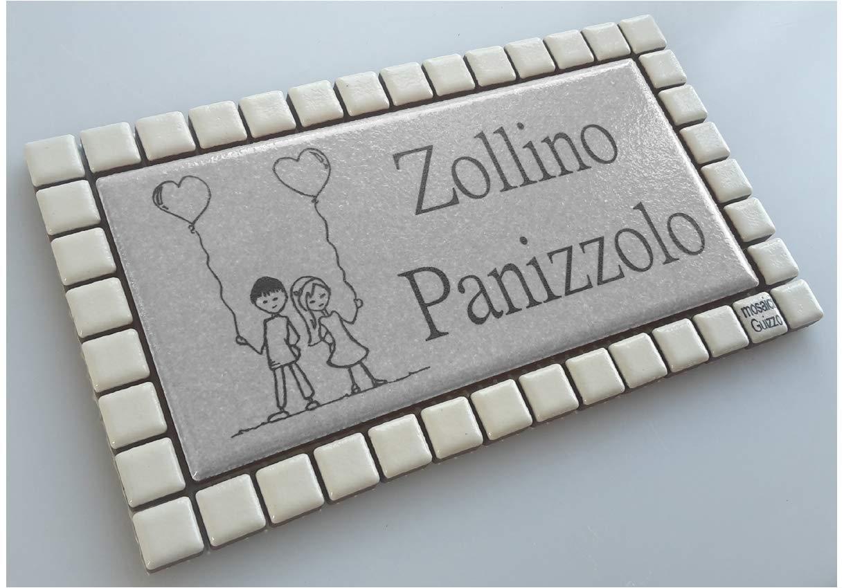 Mosaici Guizzo Targhetta in ceramica incisa+cornice_bimbi con palloncini a cuore_5