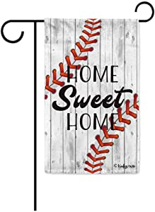 KafePross Home Sweet Home Baseball Decorative Garden Flag for Outside 12.5X18 Inch Print Double Sided