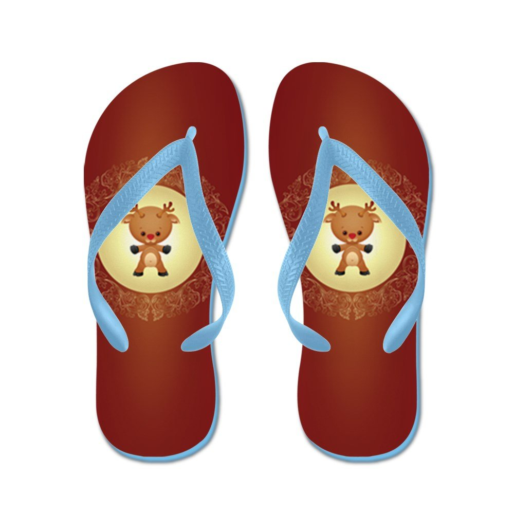 Truly Teague Kids Christmas Cuties Rudolf the Red Nose Reindeer Rubber Flip Flops Sandals KDFLFLPCCRUDFRNRD-MAR2017