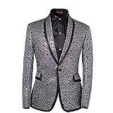 Cloud Style Men Notched Lapel Center-Vent One-Button Blazer Suits Jackets & Trousers,Silver,XXXXX-Large